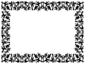 Black and white floral elements on blank frame Royalty Free Stock Photo