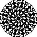 Black and white floral leaf line art Mandala Illustration.