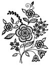 Black-and-white flowers and leaves design element Royalty Free Stock Image