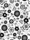 Black and White Flowers Seamless Repeat Pattern Stock Image