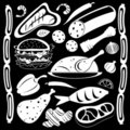 Black and white food pattern Royalty Free Stock Image
