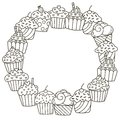 Black and white frame with cute cupcakes for coloring book