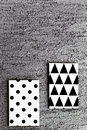 Black and white geometric canvases geometrical painted hanging on green wall Stock Images