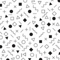 Black and white geometric elements memphis style pattern the era 80`s - 90`s years background