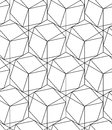Black and white geometric seamless pattern with line and hexagon eps vector Stock Images