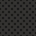Black & white geometric vector texture, dots in diagonal grid Royalty Free Stock Photo