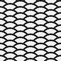 Black and white geometric wave pavement stone mosaic seamless pattern, vector background
