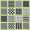 Black and white geometrical seamless patterns set on light green background with shadows Royalty Free Stock Photography