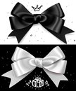 Black and white gift bows, satin  glamour bow for birthday and christmas giftbox. Present design element Royalty Free Stock Photo