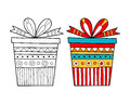 Black and white gift box for coloring book. Packaging, festive illustration.