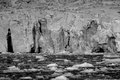 Black and white glacier cliffs in arctic Stock Photo