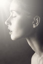 Black and white glamour woman portrait. light on clean face Royalty Free Stock Photo
