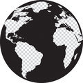 Black and white globe with transparency continents on the vector illustration Royalty Free Stock Photography