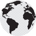 Black and white globe with transparency on seas vector illustration Royalty Free Stock Images