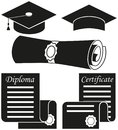 Black white graduation silhouette set 5 elements
