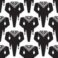 Black and white graphic vector seamless pattern with elephants