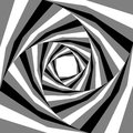 Black, White and Grey Striped Helix Expanding from the Center. Visual Effect of Depth and Volume. Suitable for Web Design.