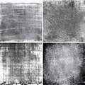 Black and white grunge textures collection of four Stock Images