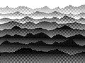 Black and white halftone mountains in the fog. Vector background