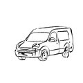 Black and white hand drawn car on white background, illustrated Royalty Free Stock Photo