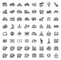 64 black and white hand drawn icons - TRANSPORTATION & ARCHITECTURE Royalty Free Stock Photo