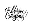 black and white hand lettering inscription Merry Christmas, artistic written for greeting card