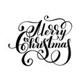 Black and white hand lettering inscription Merry Christmas