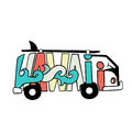 Black and white Hawaii surf print. Handdrawn lettering with a minivan. Vector bus illustration. Royalty Free Stock Photo