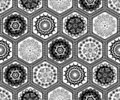 Black and white hexagon doily crochet patchwork seamless pattern background design. Embroidery style vector illustration