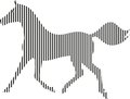 Black and white horse from strips on a background Royalty Free Stock Images