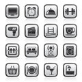 Black and white hotel and Motel facilities icons Royalty Free Stock Photo
