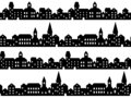 Black and white houses and buildings small town street seamless pattern, vector Royalty Free Stock Photo