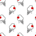 Black and white ice cream with red cherry seamless pattern background illustration Royalty Free Stock Photo