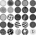 Black and white icons globe illustration of Royalty Free Stock Image