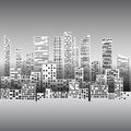 Black and white illustration with city buildings and skyscrapers
