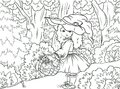 Black and white illustration coloring: Little Red Riding Hood