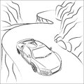 Black white illustration sport car mountain road Royalty Free Stock Photos