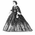 Black and white illustration, vintage ladies fashion,Berlin 1862
