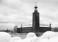 Black and white image of stockholm city hall famous landmark where the nobel banquet is held every year dec th Stock Image