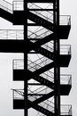 Black and White industrial metal staircase silhouette Royalty Free Stock Photo