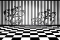 Black and white interior room a checkered floor an ornate wall of tree silhouette stripes create a high contrast Stock Photo