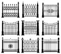 Black and white iron gates and fences architecture elements vector set Royalty Free Stock Photo