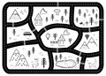 Black and White Kids Road Play Mat. Vector River, Mountains and Woods Adventure Map with Houses and Animals