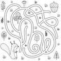 Black and white labyrinth game for kids. Help the squirrel find the way to the nut Royalty Free Stock Photo