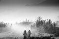 Black and white landscape this is china jiangxi province famous rape viewing area the morning the valley there will be fog a Stock Photo