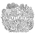 Black and white linear autumn seasonal postcard. Thin line doodle fall card with word autumn, floral element, rain,cloud,tree fall Royalty Free Stock Photo