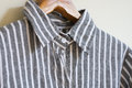 Black and white linen shirt hanging Stock Photos
