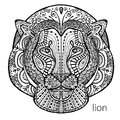 The black and white lion print with ethnic patterns. Coloring book for adults antistress. Art therapy Royalty Free Stock Photo