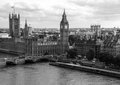 Black and white London cityscape with houses of Parliament , Big Ben and  Westminster Abbey Royalty Free Stock Photo