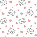 Black and white love mail letters with red hearts seamless pattern romantic background illustration